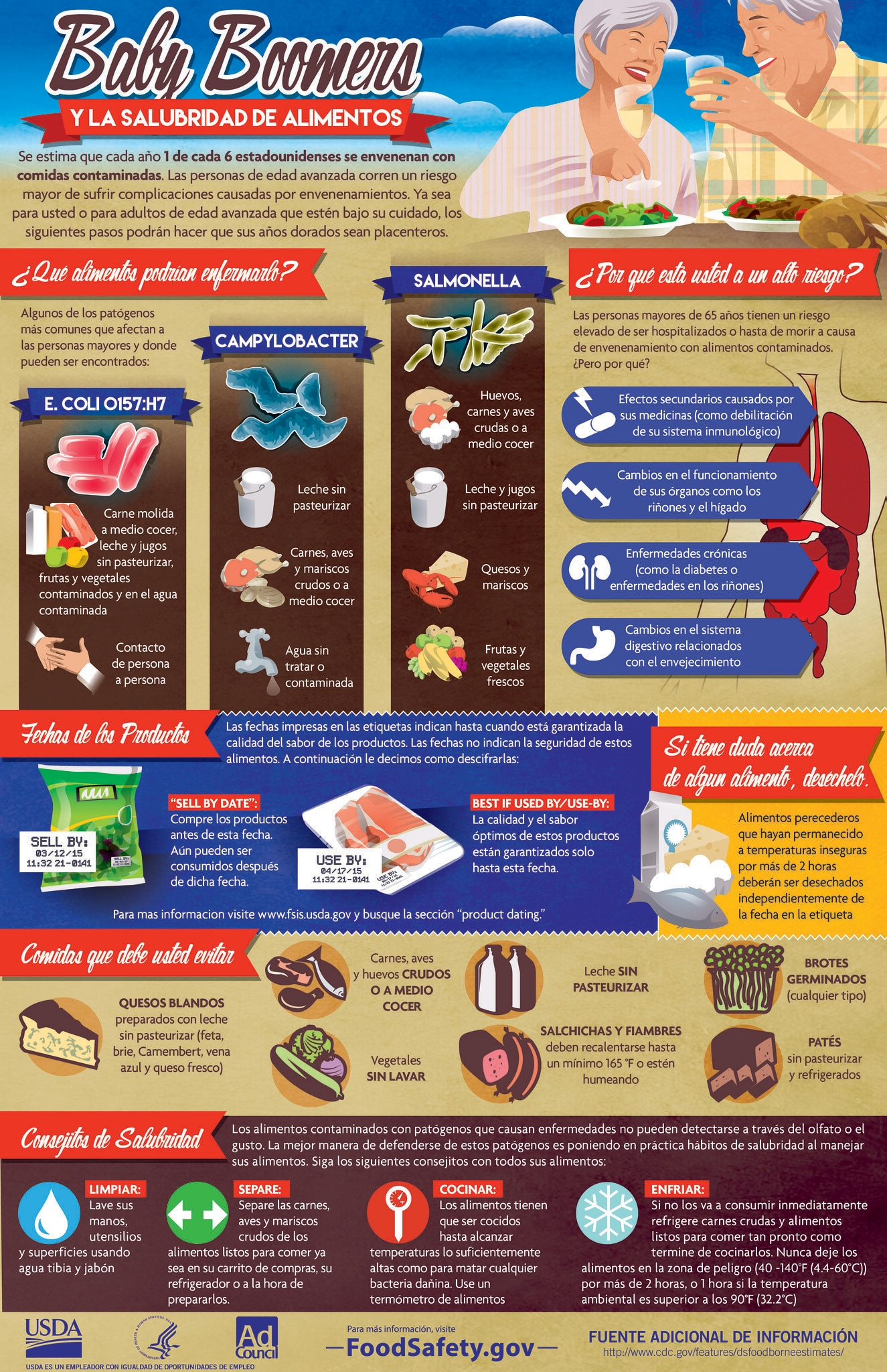 Infographic from FoodSafety.gov with food safety steps for baby boomers and older adults at risk from foodborne illness.