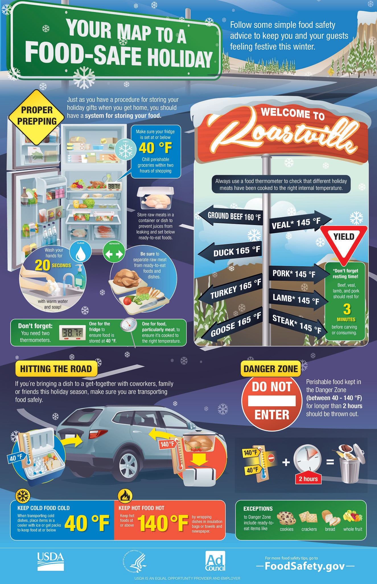 Infographic from FoodSafety.gov with a map for food-safe holidays and tips for prepping and traveling with food.